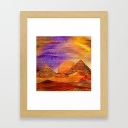 Egyptian pyramids abstract landscape Mixed Media Framed Art Print