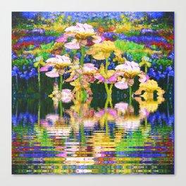 YELLOW IRIS WATER GARDEN REFLECTIONS Canvas Print