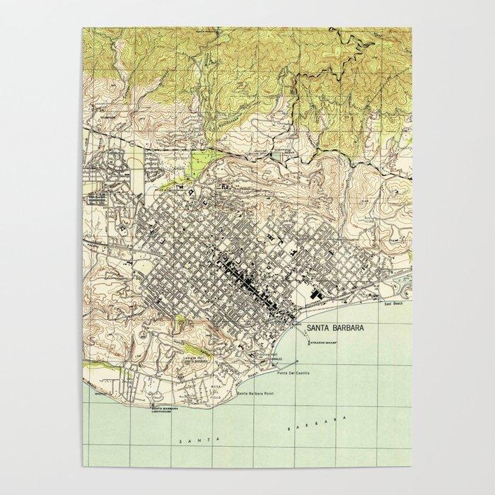 Vintage Map of Santa Barbara California (1944) Poster by vuramedia on ojai california map, san pedro california map, san diego california map, grossmont california map, bay area california map, ventura california map, davis california map, san francisco california map, carmel california map, thousand oaks california map, orange county california map, paso robles california map, anaheim california map, mono lake california map, palm springs california map, lake tahoe california map, long beach california map, pacific coast highway california map, los angeles california map, turlock california map,