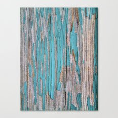 Rustic turquoise weathered wood shabby style Canvas Print