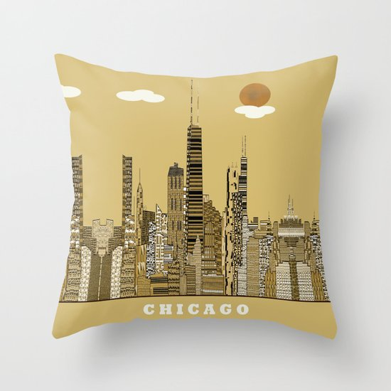 Chicago city (vintage Throw Pillow
