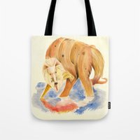inner demons Tote Bags featuring Reflecting on my inner demons by Squibler