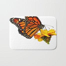 Monarch Butterfly on Zinnia Flower Bath Mat