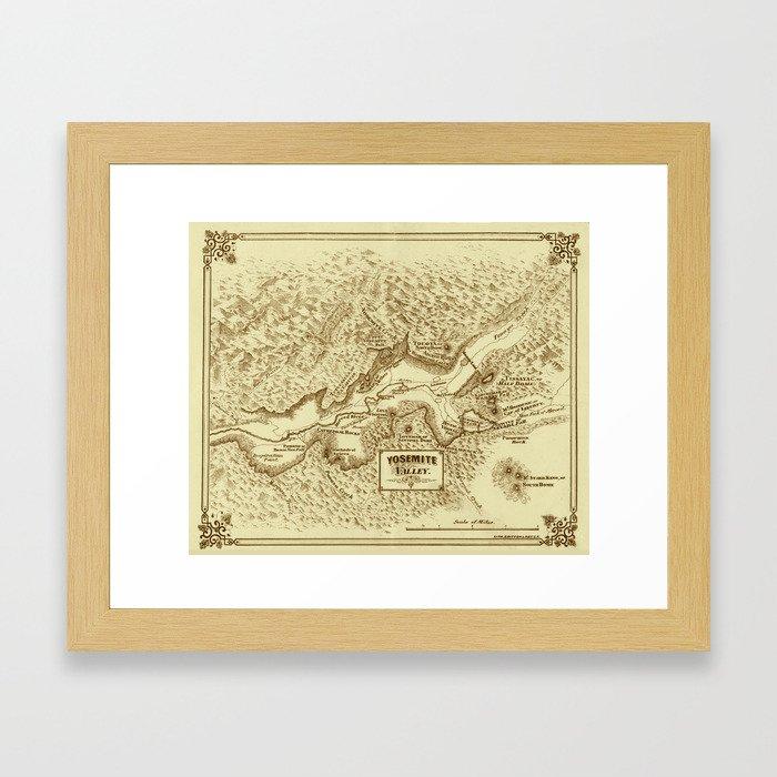 Vintage Yosemite Map 1870 Framed Art Print