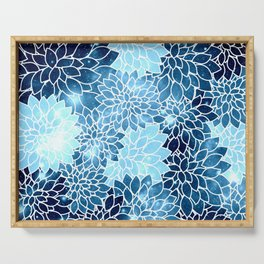 Space Dahlias Blue Ice Serving Tray