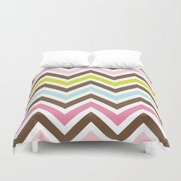 Zigzag Pattern, Chevron Pattern - Green Pink Blue  Duvet Cover