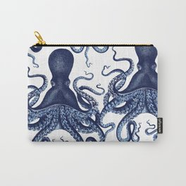 Watercolor blue vintage octopus Carry-All Pouch