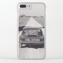 Triumph spitfire on a gravelly road in southern Italy, english sports car, fine art photography Clear iPhone Case