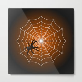 White Spider Web With Spider on Dark Orange and Black Metal Print