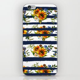 Watercolor navy blue orange yellow sunflower stripes iPhone Skin