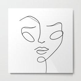 Lady face white Metal Print