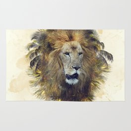 Double exposure effect of lion head and palm trees Rug