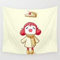pie Wall Tapestries featuring Cherry Pie by Freeminds