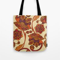 boho Tote Bags featuring Boho Flowers by Valentina Harper