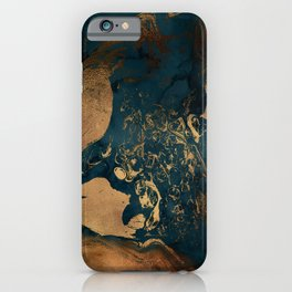 Emerald Indigo And Copper Glamour Marble iPhone Case