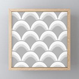 Japanese Fan Pattern Gray Framed Mini Art Print