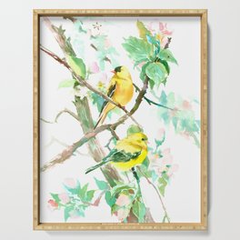 American Goldfinch and Apple Blossom Serving Tray