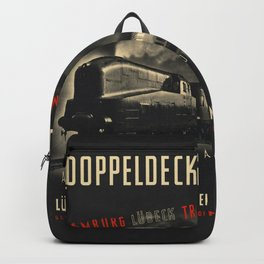 Old Black german train poster Backpack