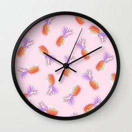 Tropical Pineapple Party Pattern - Coral and lavender on Pink Wall Clock