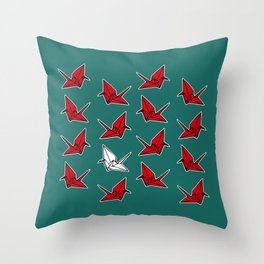PAPER CRANES RED WHITE AND BLUE Throw Pillow