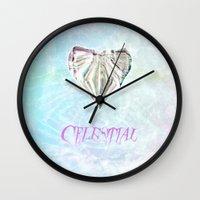 celestial Wall Clocks featuring Celestial by Peta Herbert