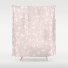 Pink and  White Lino Print Cactus Pattern Shower Curtain
