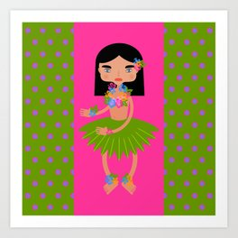 Hawaiian dancer with hibiscus  Art Print