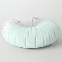 Real White marble Half pastel Mint Green Floor Pillow