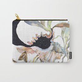 Space Psychedelic Orchids Moths Sky Black and White Carry-All Pouch