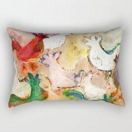 Pecking Chickens Rectangular Pillow