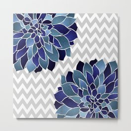 Chevron and Floral Prints, Blue and Gray, Art Printed Metal Print