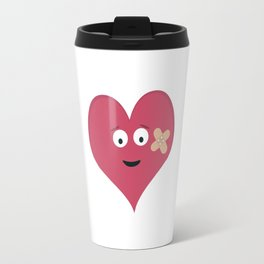 Heart face with patch Travel Mug