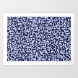 Chinese Spirals | Abstract Waves | Blue and White Art Print