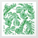 Tropical Island Leaves Green on White by followmeinstead
