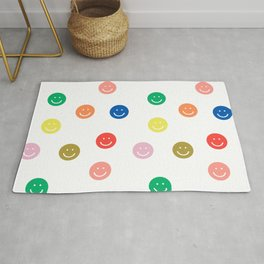 Smiley faces happy simple rainbow colors pattern smile face kids nursery boys girls decor Rug