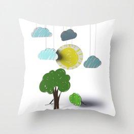 Sunny Day 3D Paper Craft Throw Pillow