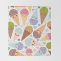 Kawaii funny Ice cream waffle cone, with pink cheeks and winking eyes by ekaterinap