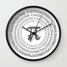 The Pi symbol mathematical constant irrational number on circle, greek letter, background Wall Clock