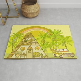a frame simple living // banana pancakes // retro surf art by surfy birdy Rug