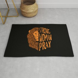 Strong Woman Pray Religious God Jesus Lion Christianity Rug