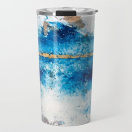 Blue Skies: a pretty, minimal abstract mixed-media piece in blue, white and gold Travel Mug