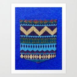 Blue Pocket Design Art Print