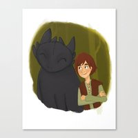 hiccup Canvas Prints featuring Hiccup and Toothless by Nocturne