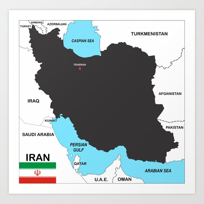 Political Map Of Iran Country With Flag Art Print By Tony4urban
