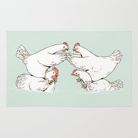 fight Area & Throw Rugs featuring Chicken Fight by tenso GRAPHICS