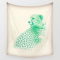 cheetah Wall Tapestries featuring Blue Cheetah  by Stephanie Stonato