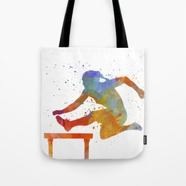 Female Athlete Jumping Over A Hurdles 01 Tote Bag