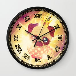 Kawaii pug flying in a cup lightings and starry texture Wall Clock