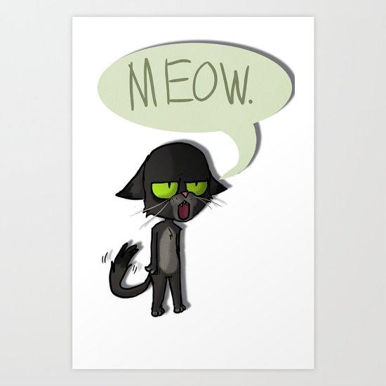 Mean Cat Art Print
