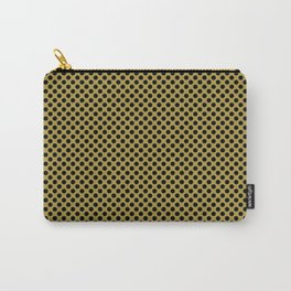 Golden Olive and Black Polka Dots Carry-All Pouch